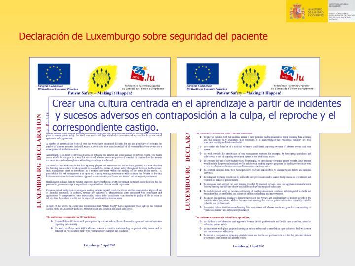 Declaración de Luxemburgo sobre seguridad del paciente