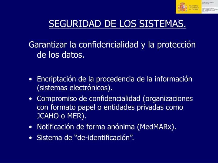 SEGURIDAD DE LOS SISTEMAS.