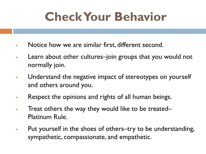 Check Your Behavior