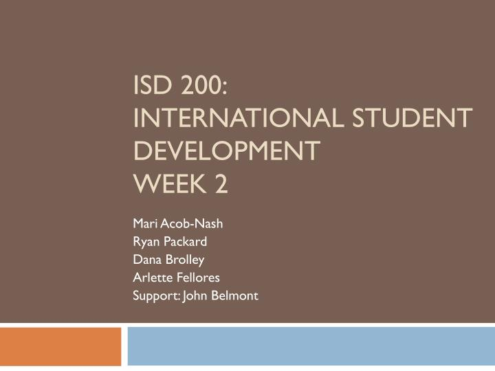 Isd 200 international student development week 2