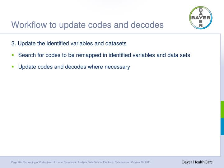 Workflow to update codes and decodes