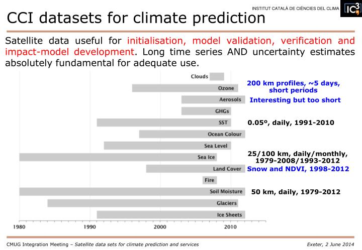 CCI datasets for climate prediction