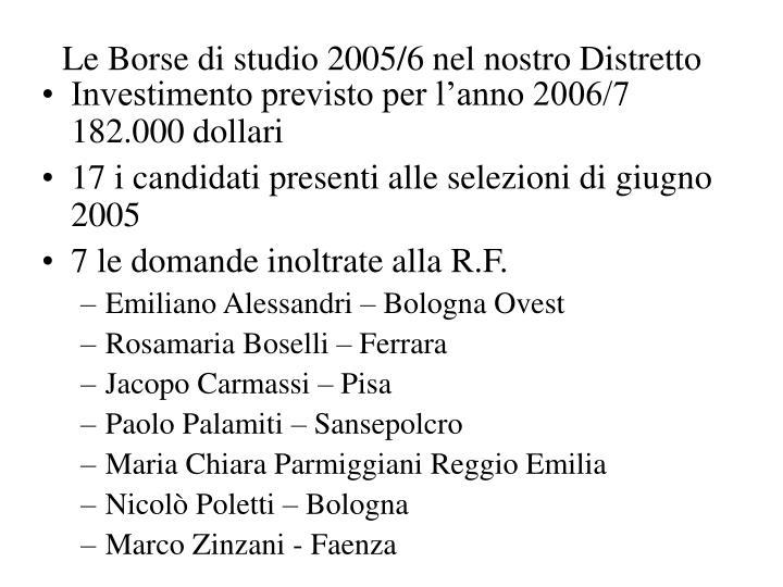 Le Borse di studio 2005/6 nel nostro Distretto