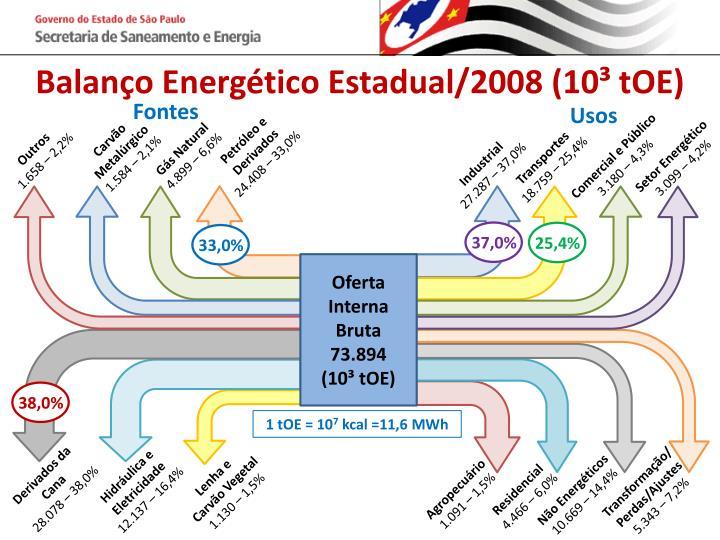 Balanço Energético Estadual/2008 (10³