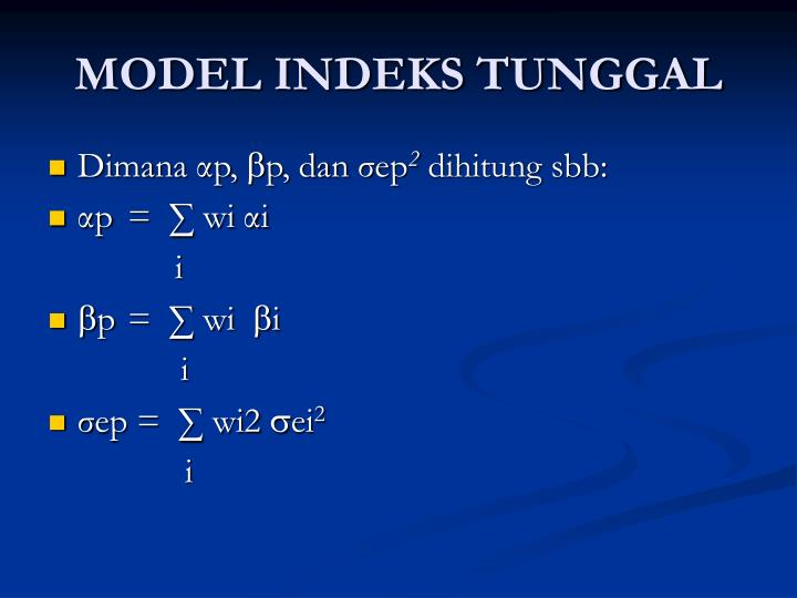 MODEL INDEKS TUNGGAL