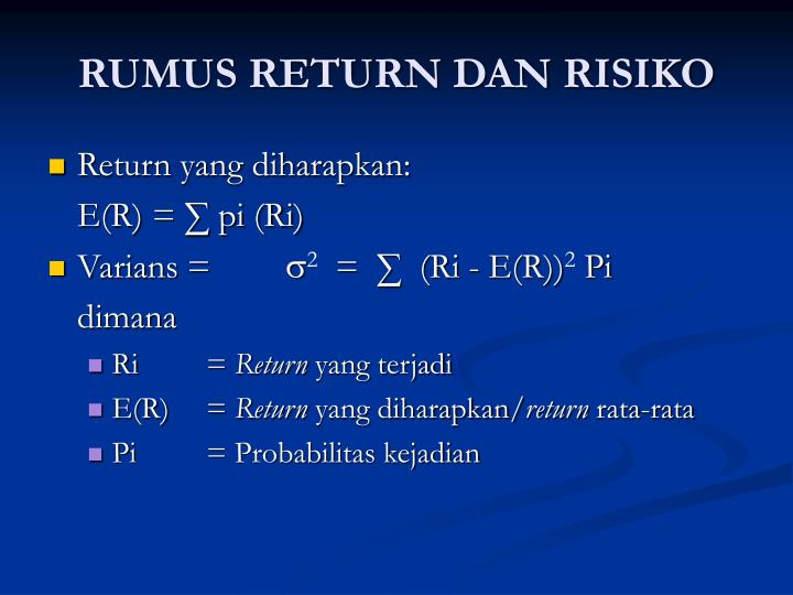 RUMUS RETURN DAN RISIKO