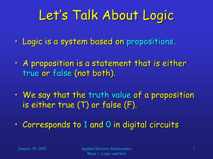Let's Talk About Logic