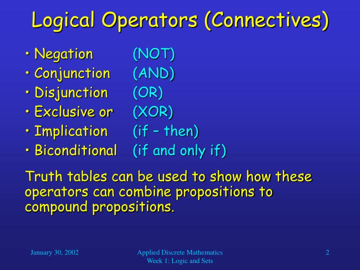Logical operators connectives