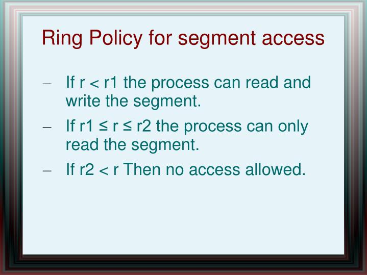 Ring Policy for segment access