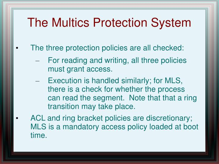 The Multics Protection System