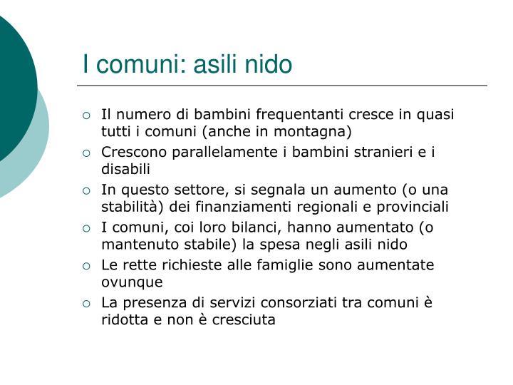 I comuni: asili nido
