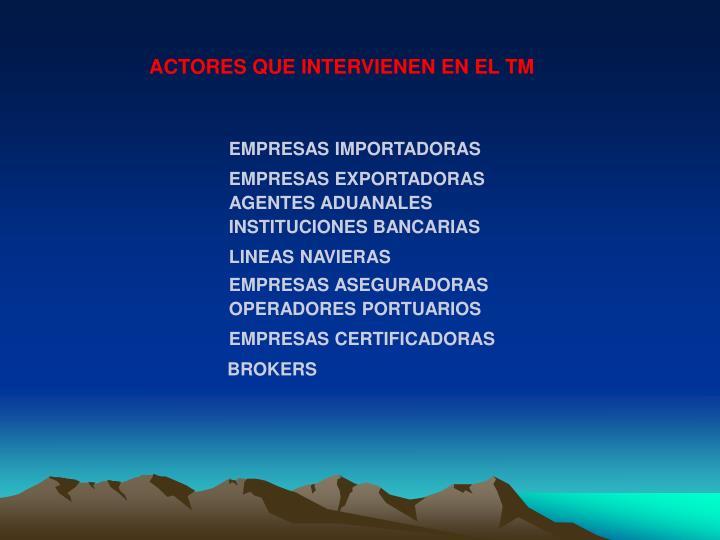 ACTORES QUE INTERVIENEN EN EL TM
