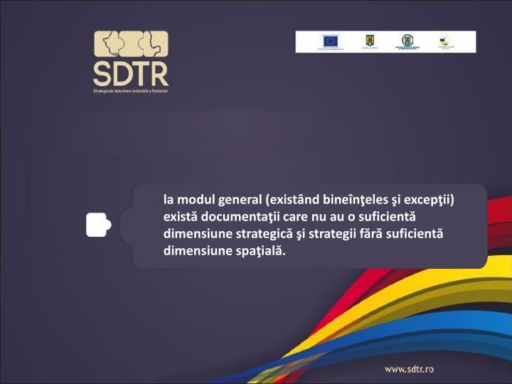 la modul general (existând bineînţeles şi excepţii) există documentaţii care nu au o suficientă dimensiune strategică şi strategii fără suficientă dimensiune spaţială.