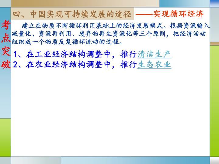 四、中国实现可持续发展的途径