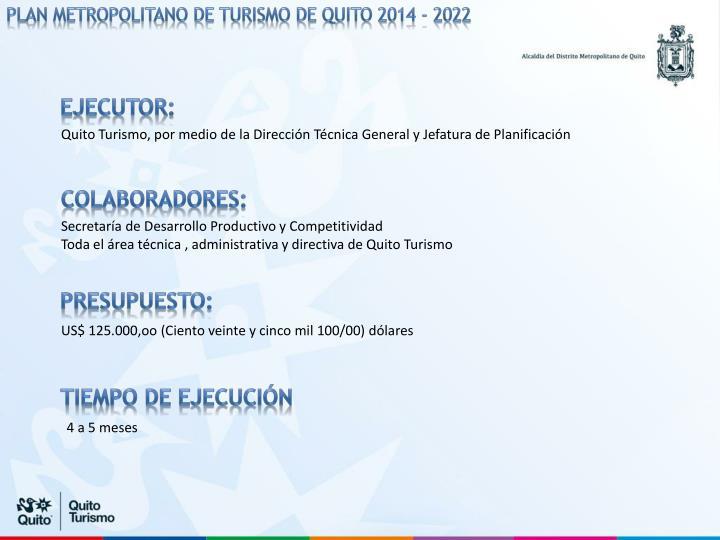 PLAN METROPOLITANO DE TURISMO DE QUITO 2014 - 2022