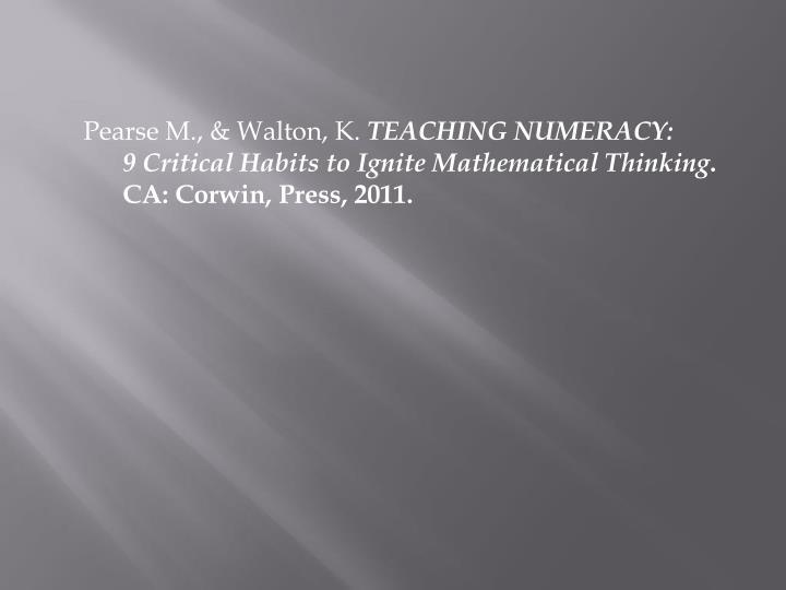 Pearse M., & Walton, K.