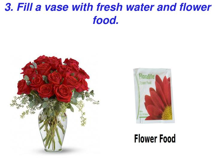3. Fill a vase with fresh water and flower food.