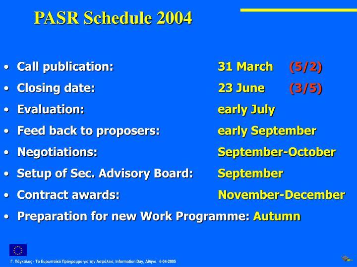 PASR Schedule 2004