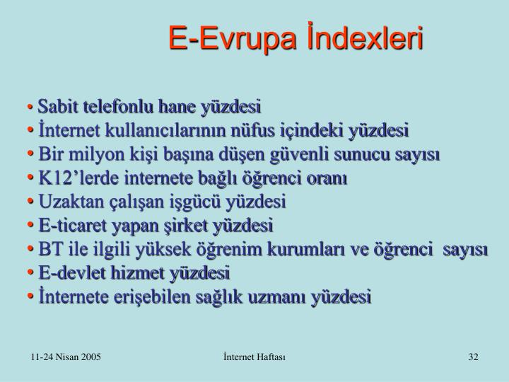 E-Evrupa İndexleri