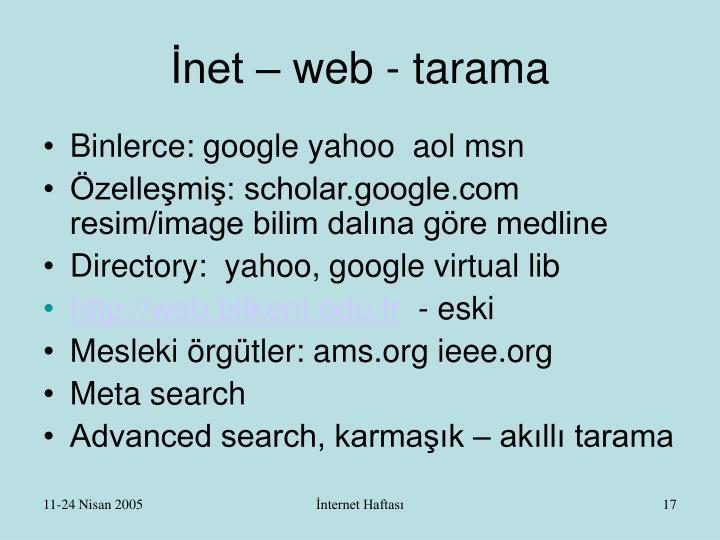 İnet – web - tarama