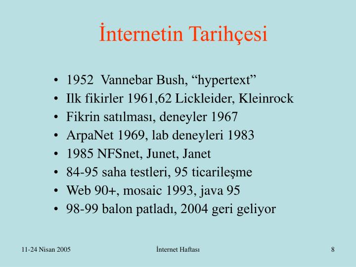 İnternetin Tarihçesi