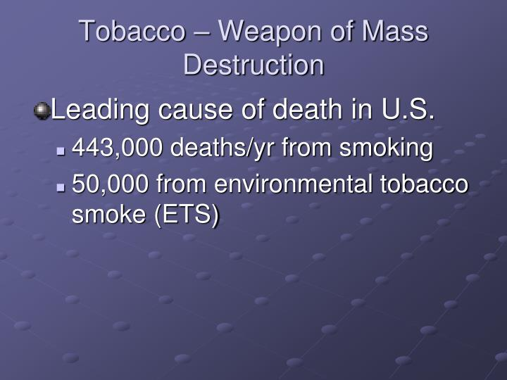 Tobacco – Weapon of Mass Destruction