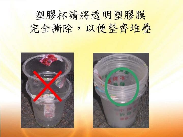 塑膠杯請將透明塑膠膜