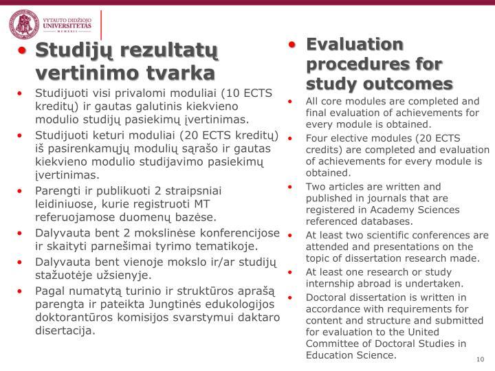 Studijų rezultatų vertinimo tvarka