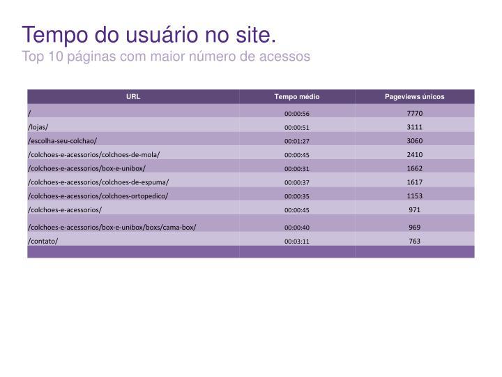 Tempo do usuário no site.