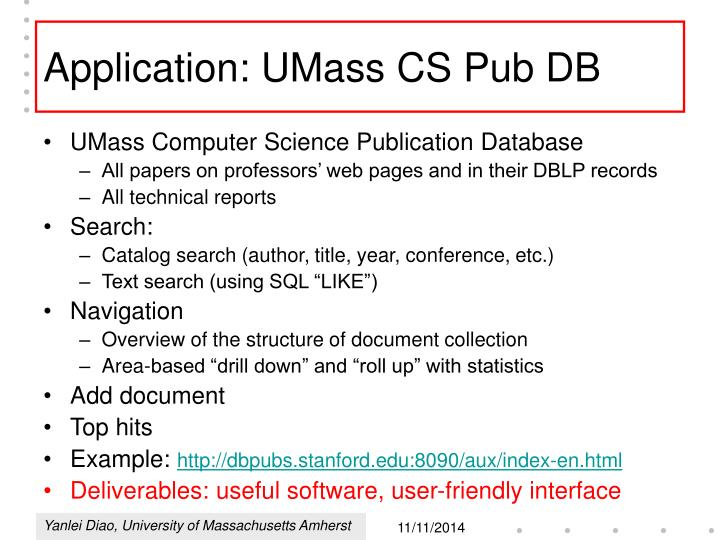 Application: UMass CS Pub DB