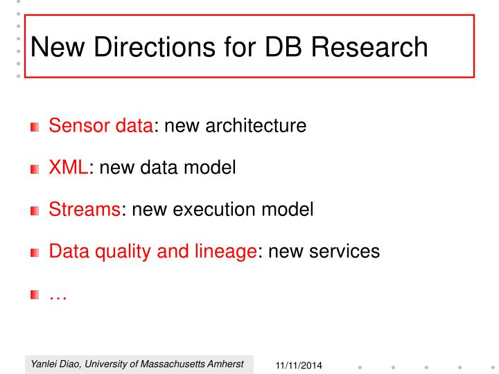 New directions for db research