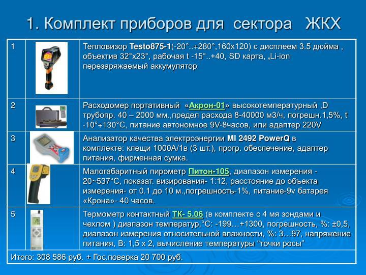 1.Комплект приборов для сектора  ЖКХ