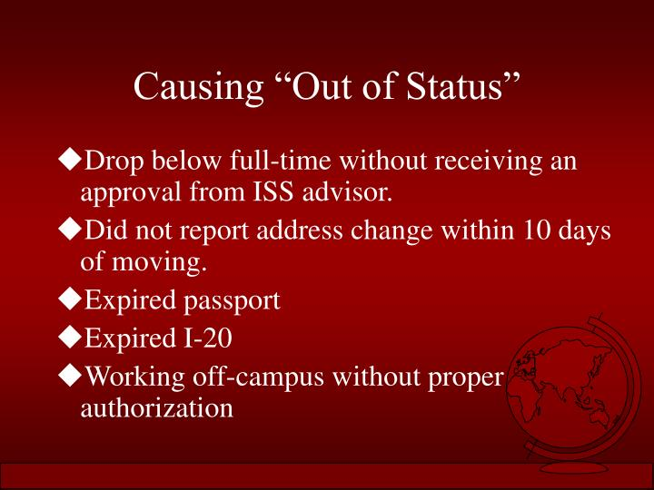 "Causing ""Out of Status"""
