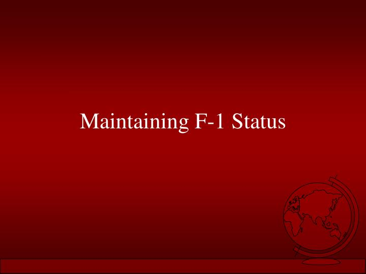 Maintaining F-1 Status