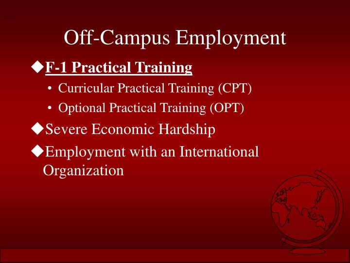 Off-Campus Employment