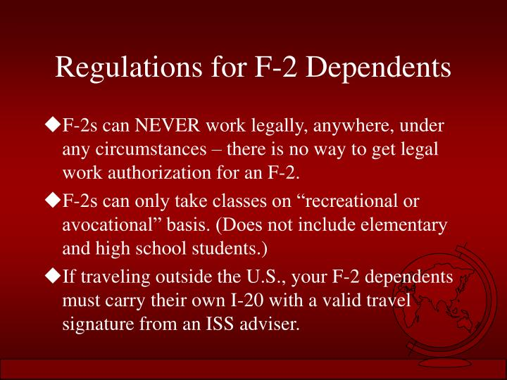 Regulations for F-2 Dependents
