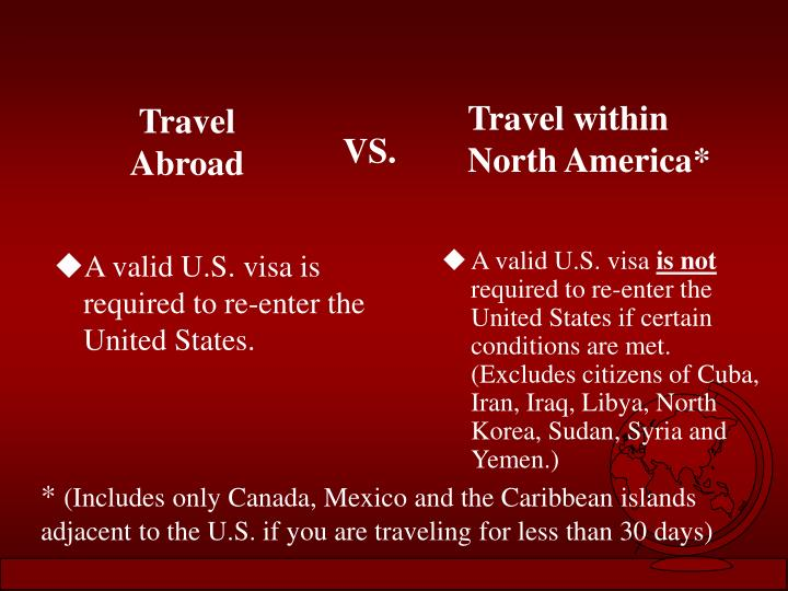 A valid U.S. visa is required to re-enter the United States.