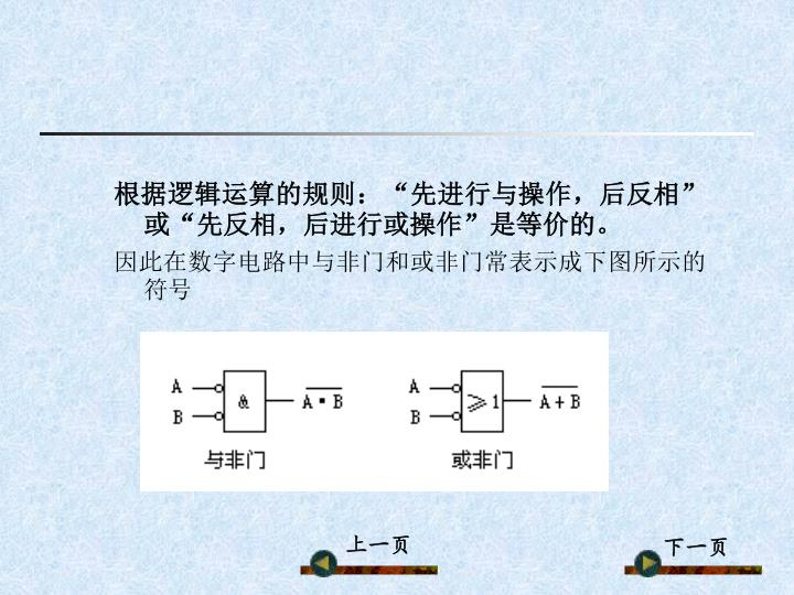 """根据逻辑运算的规则:""""先进行与操作,后反相""""或""""先反相,后进行或操作""""是等价的。"""