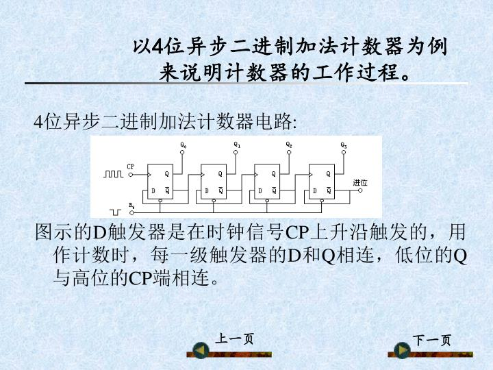 以4位异步二进制加法计数器为例来说明计数器的工作过程。