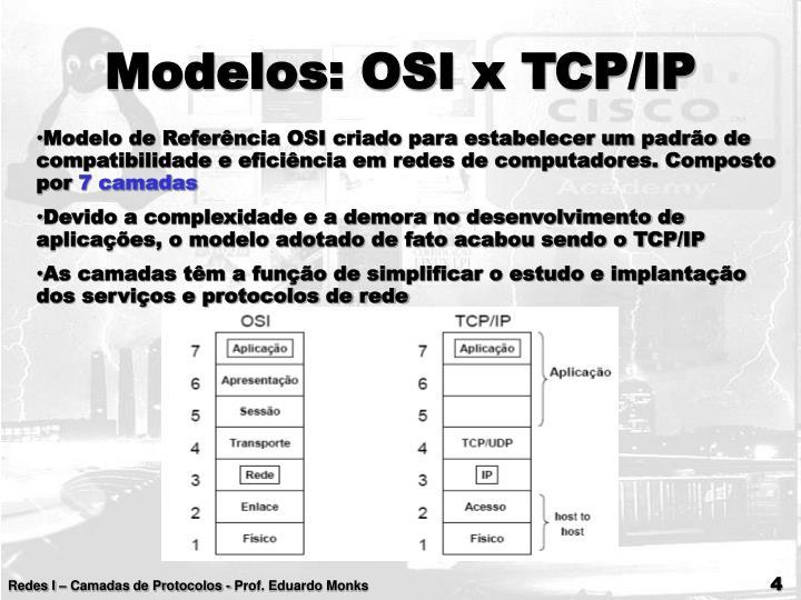 Modelos: OSI x TCP/IP