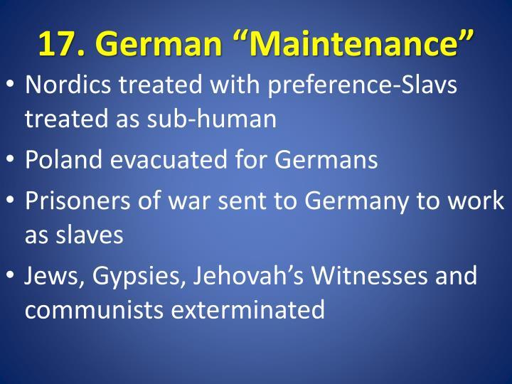 "17. German ""Maintenance"""