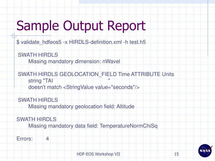 Sample Output Report