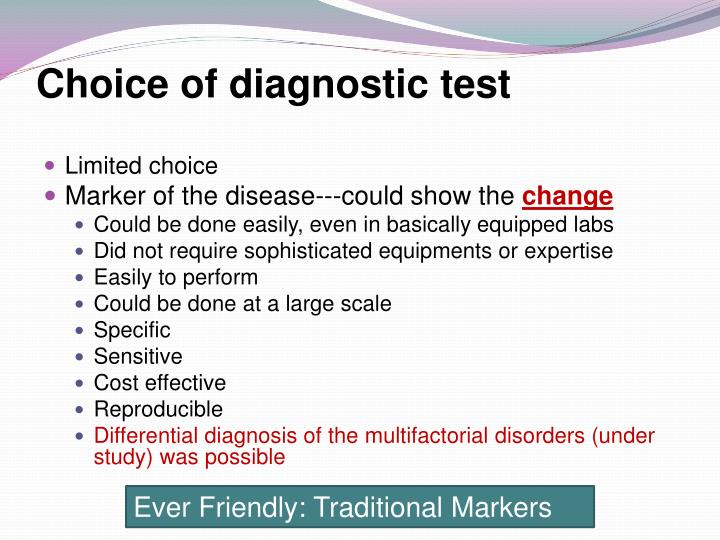 Choice of diagnostic test
