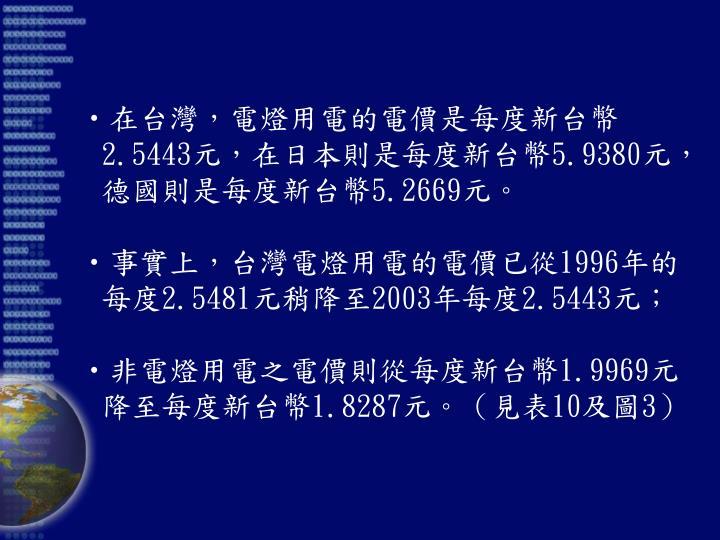 在台灣,電燈用電的電價是每度新台幣