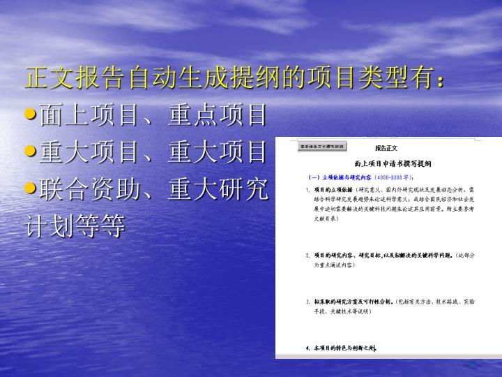 正文报告自动生成提纲的项目类型有: