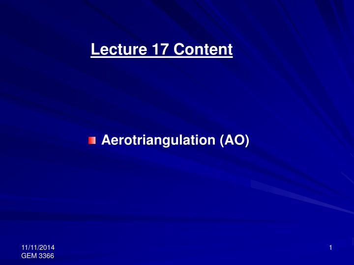 Lecture 17 Content