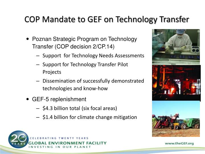 COP Mandate to GEF on Technology Transfer