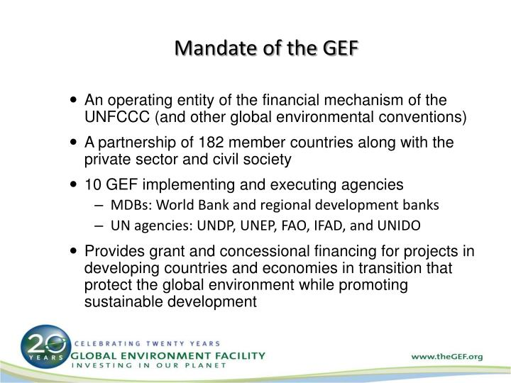 Mandate of the GEF