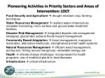pioneering activities in priority sectors and areas of intervention ldcf
