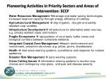 pioneering activities in priority sectors and areas of intervention sccf